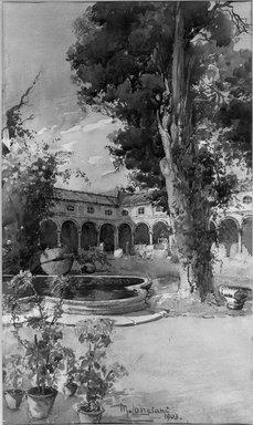M. Lanciani. <em>Cloister</em>, 1903. Watercolor, 28 3/8 x 19 11/16 in.  (72.1 x 50.0 cm). Brooklyn Museum, Bequest of William H. Herriman, 21.136 (Photo: Brooklyn Museum, 21.136_acetate_bw.jpg)