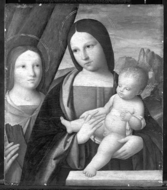 Niccolò Pisano (Italian, Pisan and Ferrarese Schools, documented 1470-ca. 1538). <em>Madonna and Child with Saint Catherine of Alexandria</em>, 1510-1515. Tempera and oil on panel, 17 x 14 7/8 in. (43.2 x 37.8 cm). Brooklyn Museum, Bequest of A. Augustus Healy, 21.139 (Photo: Brooklyn Museum, 21.139_bw_SL1.jpg)