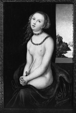 Lucas Cranach the Elder and Workshop (German, 1472-1553). <em>Lucretia</em>, 1526-1537. Oil on panel mounted on canvas fixed to masonite, 23 x 15 3/4 in. (58.4 x 40 cm). Brooklyn Museum, Bequest of A. Augustus Healy, 21.142 (Photo: Brooklyn Museum, 21.142_acetate_bw.at.jpg)