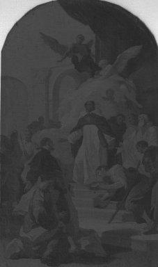 Mattia Bortoloni (Italian, Venetian School, 1696-1750). <em>The Miracle of Saint Thomas Aquinas (Miracolo di San Tommaso d'Aquino)</em>, 1735. Oil on canvas, 16 7/8 x 9 7/8 in. (42.9 x 25.1 cm). Brooklyn Museum, Bequest of A. Augustus Healy, 21.145 (Photo: Brooklyn Museum, 21.145_glass_bw.jpg)