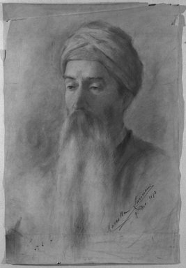 Lancini. <em>Head of a Man</em>. Pastel, 21 5/8 x 14 1/2 in.  (54.9 x 36.8 cm). Brooklyn Museum, Bequest of William H. Herriman, 21.20 (Photo: Brooklyn Museum, 21.20_cropped_bw.jpg)