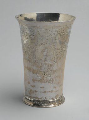 Henricus Boelen (1697-1755). <em>Beaker</em>, ca. 1730. Silver, Height: 6 3/4 in. (17.2 cm). Brooklyn Museum, Gift of Timothy Ingraham Hubbard, 21.236. Creative Commons-BY (Photo: Brooklyn Museum, 21.236_view1_PS2.jpg)