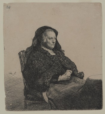 Rembrandt Harmensz. van Rijn (Dutch, 1606-1669). <em>Rembrandt's Mother</em>, ca. 1631. Etching on laid paper, 5 5/8 x 5 1/16 in. (14.3 x 12.9 cm). Brooklyn Museum, Gift of Samuel P. Avery, 21.238 (Photo: , 21.238_PS9.jpg)