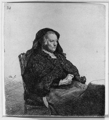 Rembrandt Harmensz. van Rijn (Dutch, 1606-1669). <em>Rembrandt's Mother</em>, ca. 1631. Etching on laid paper, 5 5/8 x 5 1/16 in. (14.3 x 12.9 cm). Brooklyn Museum, Gift of Samuel P. Avery, 21.238 (Photo: Brooklyn Museum, 21.238_acetate_bw.jpg)
