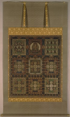 <em>Kongō-kai Mandara</em>, 14th century. Opaque watercolor, ink and gold on silk, overall: 84 1/2 x 47 3/8 (214.7 x 127.3 cm);. Brooklyn Museum, Museum Collection Fund, 21.240.1 (Photo: Brooklyn Museum, 21.240.1_edited_SL1.jpg)