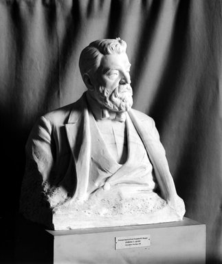 Edmond T. Quinn (American, 1868-1929). <em>Bust of Professor Franklin W. Hooper</em>, 1920. Marble, 32 x 26 x 16 in. (81.3 x 66 x 40.6 cm). Brooklyn Museum, Purchased by subscription, 21.243. Creative Commons-BY (Photo: Brooklyn Museum, 21.243_bw.jpg)