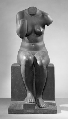 Jane Poupelet (French, 1878-1932). <em>Figure of a Seated Woman</em>, 20th century. Bronze, 22 13/16 x 10 1/16 x 12 3/16 in. (58 x 25.5 x 31 cm). Brooklyn Museum, Ella C. Woodward Memorial Fund, 21.245. Creative Commons-BY (Photo: Brooklyn Museum, 21.245_front_acetate_bw.jpg)