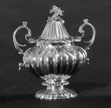 American. <em>Sugar Bowl</em>, 19th century. Silver, 8 11/16 x 4 in. (22 x 10.2 cm). Brooklyn Museum, Bequest of Samuel E. Haslett, 21.246.2. Creative Commons-BY (Photo: Brooklyn Museum, 21.246.2_acetate_bw.jpg)