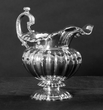 American. <em>Creamer</em>, 19th century. Silver, 6 1/2 x 7 1/16 x 3 1/8 in. (16.5 x 18 x 8 cm). Brooklyn Museum, Bequest of Samuel E. Haslett, 21.246.3. Creative Commons-BY (Photo: Brooklyn Museum, 21.246.3_acetate_bw.jpg)