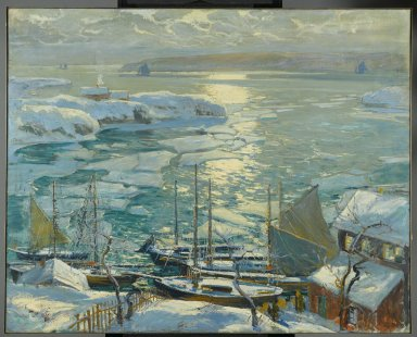 Jonas Lie (American, 1880-1940). <em>The Old Ships Draw to Home Again</em>, 1920. Oil on canvas, 40 x 50 in. (101.6 x 127 cm). Brooklyn Museum, Gift of Mrs. Martin Joost, 21.24 (Photo: Brooklyn Museum, 21.24_PS2.jpg)