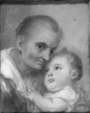 Unknown. <em>Old Woman with Child</em>. Pastel Brooklyn Museum, Bequest of William H. Herriman, 21.274 (Photo: Brooklyn Museum, 21.274_acetate_bw.jpg)