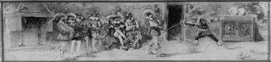 Pregiatti. <em>The Duel</em>. Watercolor Brooklyn Museum, Bequest of William H. Herriman, 21.275 (Photo: Brooklyn Museum, 21.275_acetate_bw.jpg)