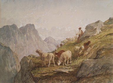 Félix-Saturnin Brissot de Warville (French, 1818-1892). <em>Shepherd and Flock in the Mountains</em>, early 1870s. Watercolor on wove paper, 7 5/8 x 10 1/8 in. (19.4 x 25.7 cm). Brooklyn Museum, Bequest of William H. Herriman, 21.276 (Photo: Brooklyn Museum, 21.276.jpg)