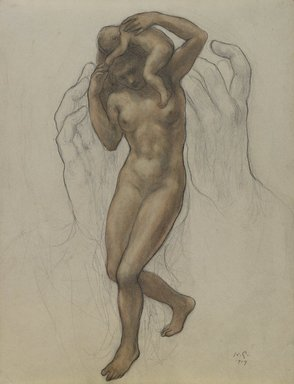 Kahlil Gibran (American, born Lebanon, 1883-1931). <em>The Burden</em>, 1919. Watercolor and graphite on medium cream wove paper with watermarks, Sheet: 11 1/16 x 8 9/16 in. (28.1 x 21.7 cm). Brooklyn Museum, Gift of Mrs. Frank L. Babbott, 21.277 (Photo: Brooklyn Museum, 21.277_PS3.jpg)