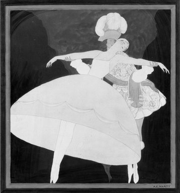 André-Edouard Marty (French, 1882-1974). <em>Ballet Girl (Figure de Ballet)</em>. Watercolor Brooklyn Museum, Gift of Otto H. Kahn through the Committee for the Diffusion of French Art, 21.28 (Photo: Brooklyn Museum, 21.28_acetate_bw.jpg)