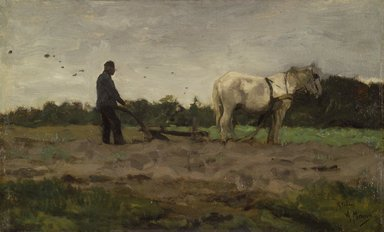 Anton Mauve (Dutch, 1838-1888). <em>Plowing</em>, ca. 1885. Oil on panel, 15 x 24 5/8 in.  (38.1 x 62.5 cm). Brooklyn Museum, Bequest of A. Augustus Healy, 21.29 (Photo: Brooklyn Museum, 21.29.jpg)