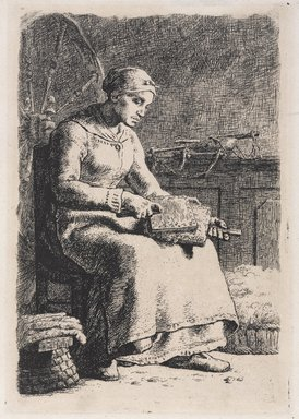 Jean-François Millet (French, 1814-1875). <em>Woman Carding Wool (La Cardeuse)</em>, 1855-1856. Etching on old laid paper, 10 1/8 x 6 3/4 in. (25.7 x 17.2 cm). Brooklyn Museum, Bequest of Samuel P. Avery, Jr., 21.311 (Photo: Brooklyn Museum, 21.311_PS9.jpg)