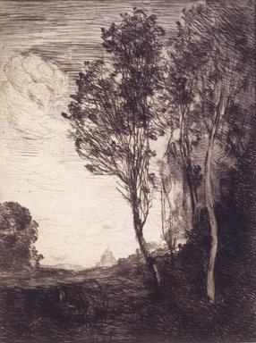 Jean-Baptiste-Camille Corot (French, 1796-1875). <em>Souvenir of Italy</em>, 1866. Etching on laid paper, Image: 12 9/16 x 9 3/8 in. (31.9 x 23.8 cm). Brooklyn Museum, Bequest of Samuel P. Avery, 21.313 (Photo: Brooklyn Museum, 21.313_transp801.jpg)