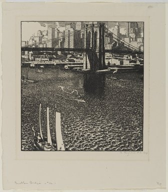 Rudolph Ruzicka (American, born Bohemia, 1883-1978). <em>Brooklyn Bridge</em>, ca. 1915. Woodcut on paper, 7 3/8 x 6 15/16 in. (18.8 x 17.6 cm). Brooklyn Museum, Gift of the artist, 21.317 (Photo: Brooklyn Museum, 21.317_PS1.jpg)