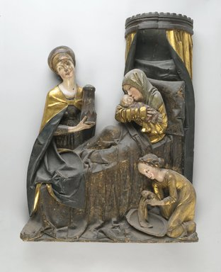 Unknown. <em>Sculptured Group of the Virgin and Child and St. Anne</em>, ca. 1500. Oak, 41 x 34 x 3 7/8 in. (104.1 x 86.4 x 9.8 cm). Brooklyn Museum, Bequest of William H. Herriman, 21.319. Creative Commons-BY (Photo: Brooklyn Museum, 21.319_PS2.jpg)