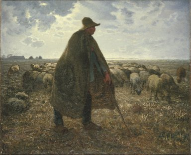 Jean-François Millet (French, 1814-1875). <em>Shepherd Tending His Flock</em>, early 1860s. Oil on canvas, 32 3/16 x 39 9/16 in. (81.8 x 100.5 cm). Brooklyn Museum, Bequest of William H. Herriman, 21.31 (Photo: Brooklyn Museum, 21.31_SL1.jpg)