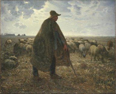Jean-François Millet (French, 1814-1875). <em>Shepherd Tending His Flock</em>, early 1860s. Oil on canvas, 32 3/16 x 39 9/16 in. (81.8 x 100.5 cm). Brooklyn Museum, Bequest of William H. Herriman, 21.31 (Photo: Brooklyn Museum, 21.31_SL1.jpg)