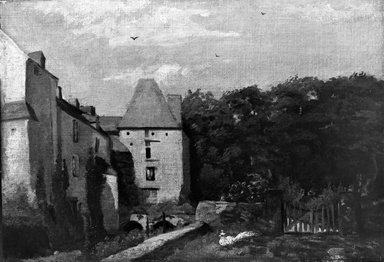 Attributed to Jean-François Millet (French, 1814-1875). <em>The Chateau</em>. Oil on canvas, 12 x 17 in.  (30.5 x 43.2 cm). Brooklyn Museum, Bequest of A. Augustus Healy, 21.32 (Photo: Brooklyn Museum, 21.32_cropped_glass_bw.jpg)