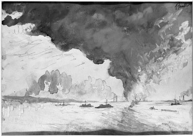 Joseph Pennell (American, 1860-1926). <em>Oil Fire</em>, 19th century. Watercolor Brooklyn Museum, John B. Woodward Memorial Fund, 21.347 (Photo: Brooklyn Museum, 21.347_acetate_bw.jpg)