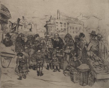 Jerome Myers (American, 1867-1940). <em>The Old Quarters</em>. Drypoint, image: 8 x 9 13/16 in. (20.3 x 24.9 cm). Brooklyn Museum, 21.433. © artist or artist's estate (Photo: Brooklyn Museum, 21.433.jpg)