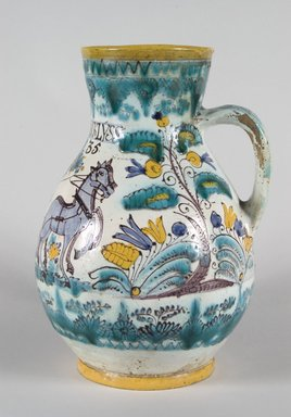 <em>Pitcher with Scene Depicting a Figure Steering a Horse Drawn Plough, Habanware</em>, ca. 1835. Tin glazed earthenware with overglaze painted decoration, 11 1/2 x 8 1/2 in. (29.0 x 21.5 cm). Brooklyn Museum, Museum Expedition 1921, Robert B. Woodward Memorial Fund, 21.443.24907. Creative Commons-BY (Photo: Brooklyn Museum, 21.443.24907_PS5.jpg)