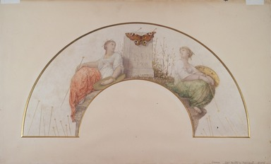 Jean-Louis Hamon (French, 1821-1874). <em>Entomologist (Design for a Fan)</em>, 1872. Watercolor and graphite on parchment, 10 1/2 x 20 7/8 in.  (26.7 x 53.0 cm). Brooklyn Museum, Bequest of William H. Herriman, 21.445 (Photo: Brooklyn Museum, 21.445.jpg)