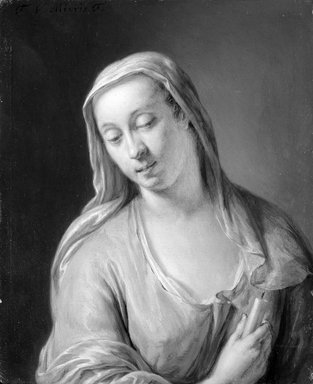 Unknown. <em>Portrait of a Woman</em>. Oil on panel, 6 9/16 x 5 3/8 in.  (16.7 x 13.7 cm). Brooklyn Museum, Bequest of William H. Herriman, 21.447 (Photo: Brooklyn Museum, 21.447_cropped_bw.jpg)