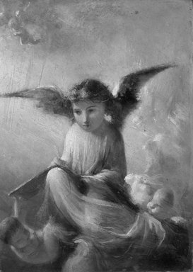 <em>The Angel</em>. Oil on canvas, 9 15/16 x 7 1/8 in.  (25.2 x 18.1 cm). Brooklyn Museum, Bequest of William H. Herriman, 21.450 (Photo: Brooklyn Museum, 21.450_cropped_bw.jpg)