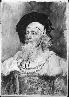 Pradilla. <em>Portrait of a Magistrate</em>. Watercolor on paper, 29 1/4 x 21 in.  (74.3 x 53.3 cm). Brooklyn Museum, Bequest of William H. Herriman, 21.460 (Photo: Brooklyn Museum, 21.460_bw.jpg)