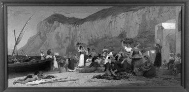 Édouard Alexandre Sain (French, 1830-1910). <em>Marina, View of Capri</em>, 1872. Oil on canvas, 25 1/2 x 53 in. (64.8 x 134.6 cm). Brooklyn Museum, Bequest of William H. Herriman, 21.463 (Photo: Brooklyn Museum, 21.463_framed_bw.jpg)