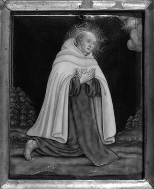 Unknown. <em>Monk in Prayer with White Robe</em>. Painted enamel on copper plate, 4 3/16 x 3 6/16 in.  (10.6 x 8.6 cm). Brooklyn Museum, Bequest of William H. Herriman, 21.464 (Photo: Brooklyn Museum, 21.464_framed_bw.jpg)
