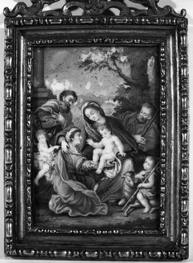 <em>The Holy Family and Elizabeth, Zacharias and St. John</em>. Miniature, 3 1/2 x 2 1/2 in.  (8.9 x 6.4 cm). Brooklyn Museum, Bequest of William H. Herriman, 21.470 (Photo: Brooklyn Museum, 21.470_framed_bw.jpg)