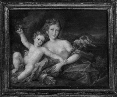 Unknown. <em>Miniature Venus and Cupid</em>., frame: 6 1/16 x 5 in. (15.4 x 12.7 cm). Brooklyn Museum, Bequest of William H. Herriman, 21.473 (Photo: Brooklyn Museum, 21.473_framed_bw.jpg)