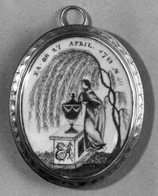 "Unknown. <em>Mourning Miniature for ""EA,""</em> ca. 1788. Watercolor and human hair on ivory mounted in a brass locket with glass lenses, Image (Recto): 1 5/16 x 1 1/16 in. (3.3 x 2.7 cm). Brooklyn Museum, Bequest of Samuel E. Haslett, 21.474 (Photo: Brooklyn Museum, 21.474_recto_acetate_bw_SL1.jpg)"