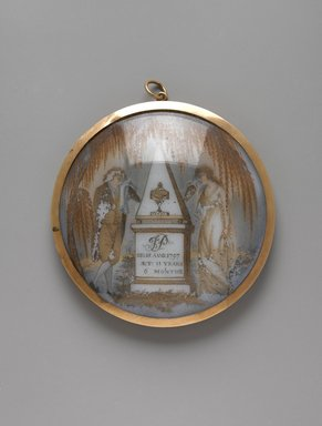 Unknown. <em>Portrait of a Gentleman/Mourning Piece</em>, ca. 1797. Watercolor on ivory or porcelain (?), framed in metal locket with glass lenses, Image (sight): 2 3/4 x 2 13/16 in. (7 x 7.1 cm). Brooklyn Museum, Bequest of Samuel E. Haslett, 21.476 (Photo: Brooklyn Museum, 21.476_front_PS1.jpg)