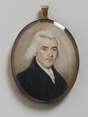 Unknown. <em>Portrait of a Gentleman/Mourning Miniature</em>, late 18th century. Watercolor on ivory with human hair housed in metal locket with glass lenses, Recto (sight): 2 15/16 x 2 3/8 in. (7.5 x 6 cm). Brooklyn Museum, Bequest of Samuel E. Haslett, 21.478 (Photo: Brooklyn Museum, 21.478_PS2.jpg)