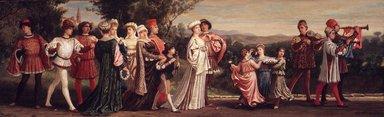 Elihu Vedder (American, 1836-1923). <em>Wedding Procession</em>, 1872-1875. Oil on canvas, 18 1/8 x 58 13/16 in. (46 x 149.4 cm). Brooklyn Museum, Bequest of William H. Herriman, 21.481 (Photo: Brooklyn Museum, 21.481_transp811.jpg)
