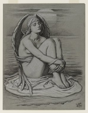 Elihu Vedder (American, 1836-1923). <em>Bound Angel</em>, 1891. White chalk and black Conté crayon on bluish-green, moderately thick, slightly textured wove paper, Sheet: 11 1/2 x 8 7/8 in. (29.2 x 22.5 cm). Brooklyn Museum, Bequest of William H. Herriman, 21.482 (Photo: Brooklyn Museum, 21.482_PS4.jpg)