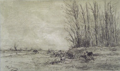 Charles-Émile Jacque (French, 1813-1894). <em>Landscape with Two Figures, Herd of Sheep, and a Cow</em>, n.d. Charcoal and white chalk on laid paper, Sheet: 8 5/16 x 15 3/16 in. (21.1 x 38.6 cm). Brooklyn Museum, Bequest of William H. Herriman, 21.485 (Photo: Brooklyn Museum, 21.485_transp812.jpg)