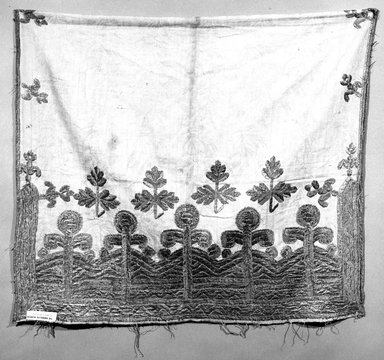 <em>Bolster Cover</em>. Cotton, silk embroidery Brooklyn Museum, Museum Expedition 1921, Robert B. Woodward Memorial Fund, 21.486.6. Creative Commons-BY (Photo: Brooklyn Museum, 21.486.6_bw.jpg)