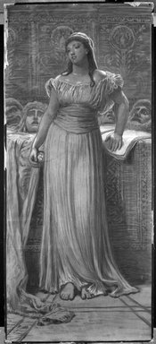 Elihu Vedder (American, 1836-1923). <em>Greek Actor's Daughter</em>. Charcoal drawing with white highlights, Sheet: 43 15/16 x 19 7/16 in. (111.6 x 49.4 cm). Brooklyn Museum, Bequest of William H. Herriman, 21.492 (Photo: Brooklyn Museum, 21.492_bw_IMLS.jpg)