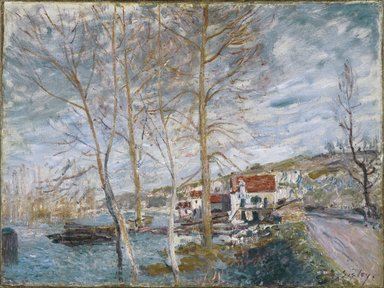 Alfred Sisley (British, active France, 1839-1899). <em>Flood at Moret (Inondation à Moret)</em>, 1879. Oil on canvas, 21 1/4 x 28 1/4 in. (54 x 71.8cm). Brooklyn Museum, Bequest of A. Augustus Healy, 21.54 (Photo: Brooklyn Museum, 21.54_colorcorrected_SL1.jpg)