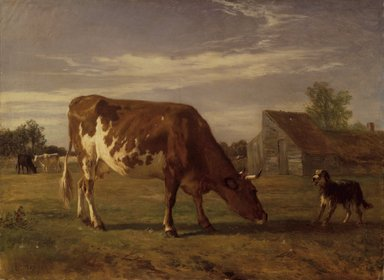 Constant Troyon (French, 1810-1865). <em>Cow in an Enclosure; A Dog Barking at Her (Vache paissant dans un enclos; un chien aboie après elle)</em>, ca. 1852-1863. Oil on pre-primed canvas, 28 1/4 x 35 1/4 in. (71.8 x 89.5 cm). Brooklyn Museum, Bequest of William H. Herriman, 21.61 (Photo: Brooklyn Museum, 21.61.jpg)