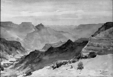 Herbert B. Tschudy (American, 1874-1946). <em>Morning, Grand Canyon</em>, 1918. Watercolor on paper mounted on cardboard, 14 1/8 x 20 in. (35.9 x 50.8 cm). Brooklyn Museum, John B. Woodward Memorial Fund, 21.63 (Photo: Brooklyn Museum, 21.63_acetate_bw.jpg)