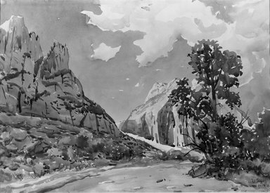 Herbert B. Tschudy (American, 1874-1946). <em>The West Wall, Zion Canyon</em>, 1921. Watercolor over pencil, 14 x 19 9/16 in. (35.6 x 49.7 cm). Brooklyn Museum, John B. Woodward Memorial Fund, 21.65 (Photo: Brooklyn Museum, 21.65_acetate_bw.jpg)